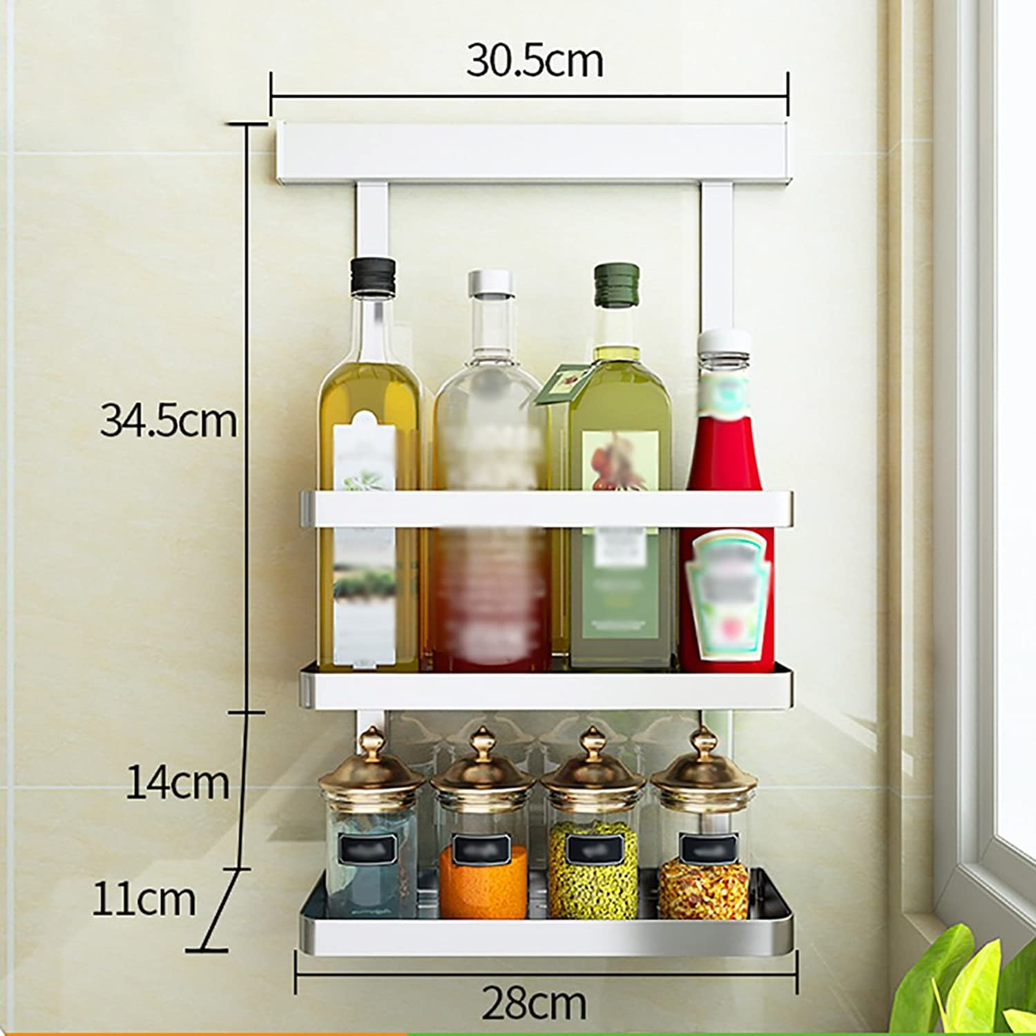 RFJJAL No Drilling 304 Stainless Steel Kitchen Racks Wall Hanging Storage Organize Shelf (Size   E)
