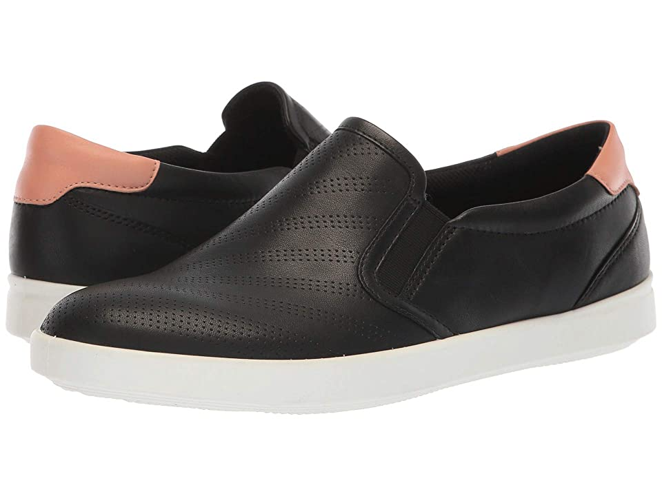 ECCO Aimee Perforated Slip-On (Black/Muted Clay Cow Leather) Women