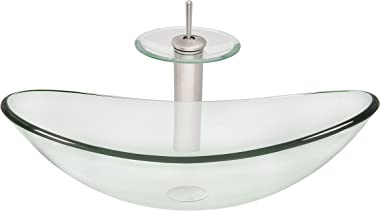 Novatto CHIARO Glass Vessel Bathroom Sink Set, Brushed Nickel/Clear Glass