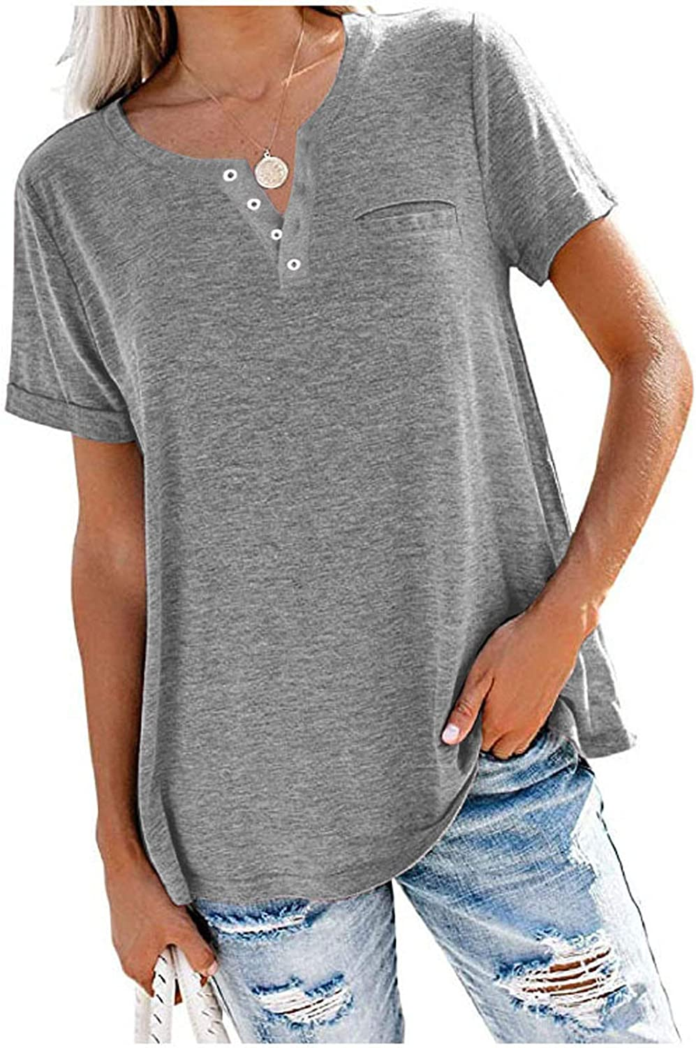 Aukbays T-Shirt for Womens Button Solid Basic Short Sleeve Tops V Neck Summer Loose Tees T-Shirts Blouses with Pocket