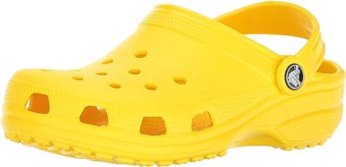 Crocs Kids' Classic Clog   Slip On Boys and Girls   Water Shoes, Lemon, 10 M US Toddler