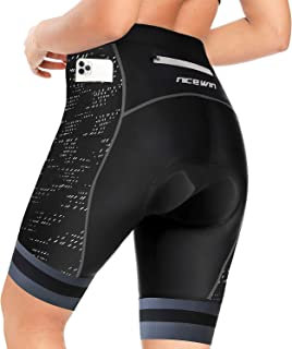 NICEWIN Womens 3D Padded Bike Shorts High Waist Riding Tights Quick-Dry Cycling Pants