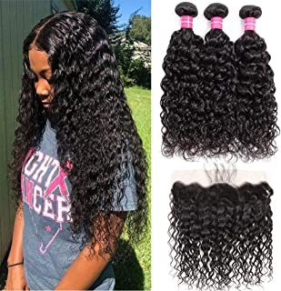 Brazilian Water Wave Bundles with Frontal 100% Virgin Human Hair Wet Wave Bundles With Frontal Lace Closure Unprocessed 10A+ Curly Hair Bundles with 13×4 Ear to Ear Frontal Natural Color(16 18 20+14)