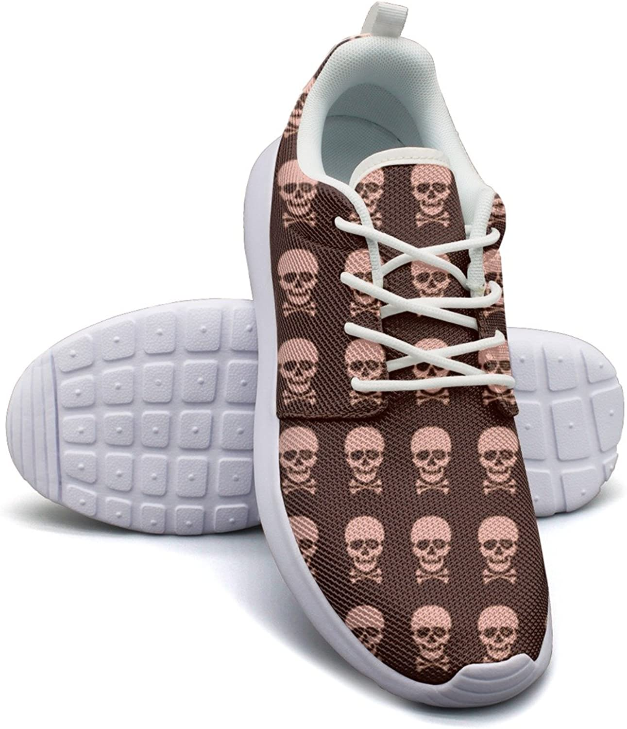 pink Skulls Women's Lightweight Mesh Sneakers Unique Boat shoes