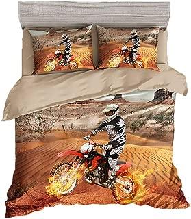 BeddingWish 3D Motorcycle Racing Printed Bedding(No Comforter and Sheet) Set for Kids Teen Boys -(3Pcs,Yellow,1 Duvet Cover+2 Pillow Shams,Full/Queen)