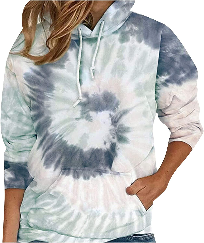 Women Color Tie-dye Hoodies Sweater Cheap mail order shopping Max 90% OFF Sleeve Casual Long Sweatshir