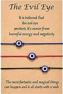 Shonyin Evil Eye Lucky Hamsa Bracelet 2pcs / Set Red String Kabbalah Bracelet Ojo Turco Waterproof Best Gift for Women Fam...