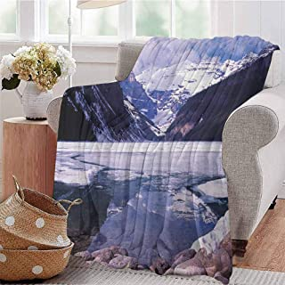 Luoiaax Winter Commercial Grade Printed Blanket Lake Louise Alberta Canada Tourist Attraction Mountains Travel Theme Queen King W54 x L72 Inch Dark Purple Lavender White
