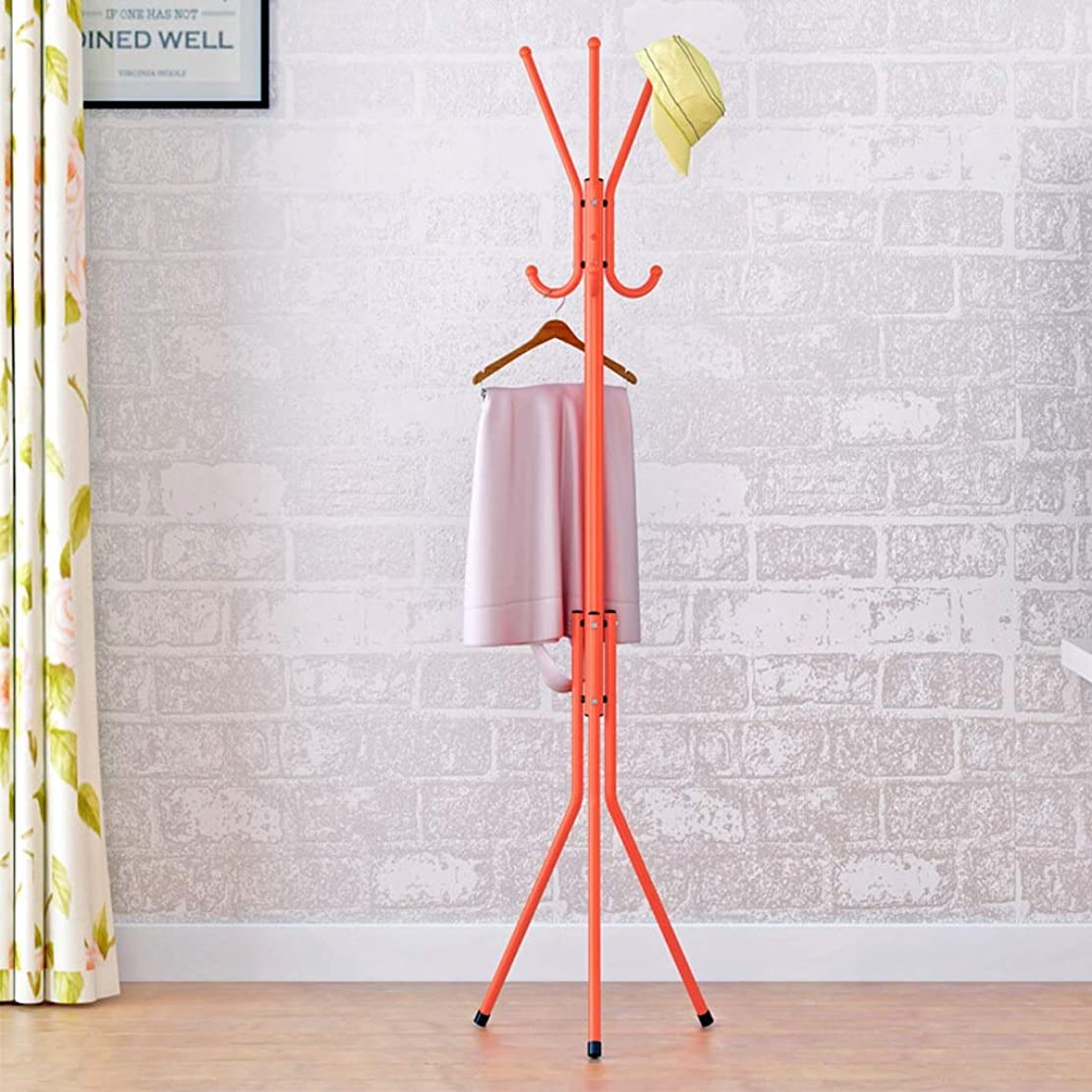 島制約回転するGLJJQMY 現代のミニマリストの床コートラックホームリビングルームの寝室クリエイティブファッションピンクオレンジフックハンガー139×40センチ ウォールマウントシェルフ