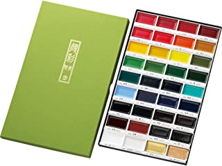 Kuretake GANSAI TAMBI Watercolor Handcrafted, Professional-Quality Pigment Inks for Artists and Crafters, AP-Certified, Blendable, Show up on Dark Papers, Made in Japan (36 Colors Set)