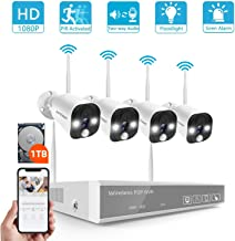 1080P Full HD Security Camera System Wireless,SAFEVANT 8CH NVR System with 1TB Hard Drive,4pcs Floodlight Indoor Outdoor Wireless IP Cameras with Color Night Vision,Two-Way Audio,PIR Motion Detection