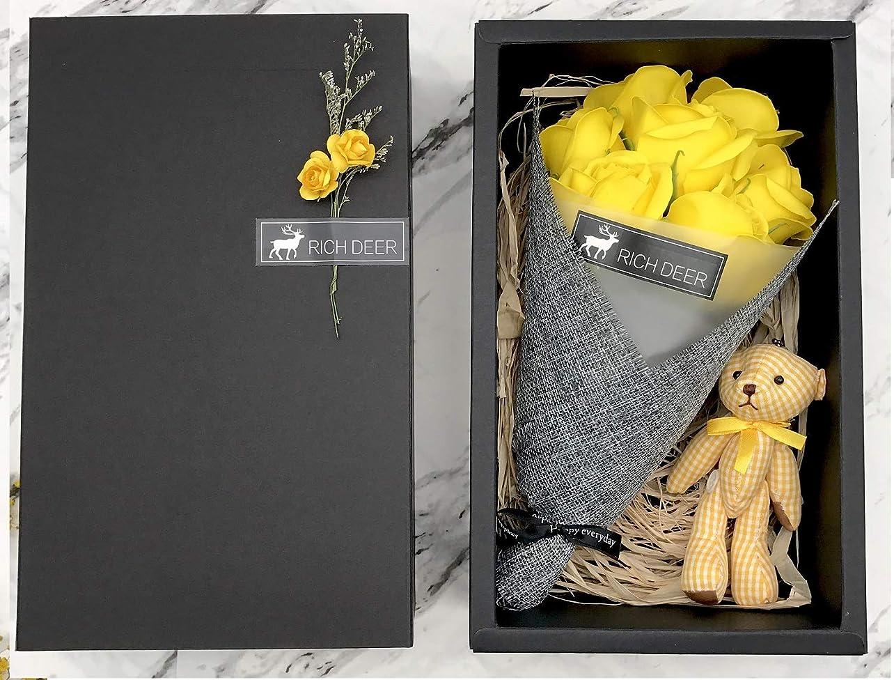 石鹸の花LYXOTO ソ ープフラワー フラワーデコレーション (イエロー バラ)