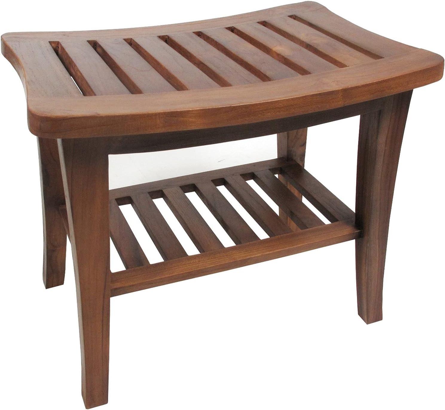 Ala Teak Indoor Outdoor Patio Garden Yard Bath Shower Spa Waterproof Stool Bench Fully Assembled : Patio, Lawn & Garden