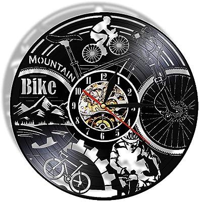 LTOOD Reloj de pared de vinilo para bicicleta de montaña, ciclismo de montaña, arte de pared