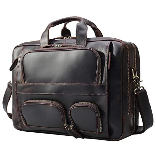 ea9245af10cf Texbo Men s Solid Genuine Leather 17.3 Inch Laptop Briefcase Messenger Bag  Tote Fit Business Travel