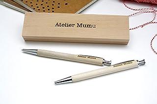 Cassetta incisa, penna personalizzata e matita meccanica di legno, regalo personalizzato con vostro testo.
