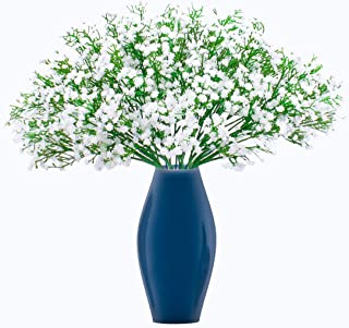 BOMAROLAN Artificial Baby Breath Flowers Fake Gypsophila Bouquets 21 Pcs Fake Real Touch Flowers for Wedding Decor DIY Home Party(White)
