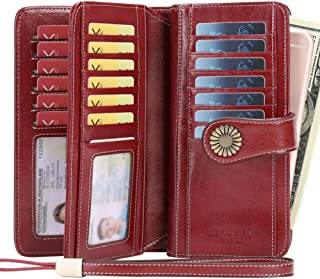 Women's Wallets, Large Capacity with RFID Protection, Genuine Leather by SENDEFN