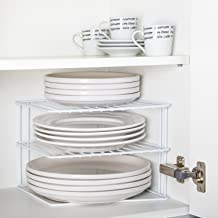 INDIAN DECOR Kitchen Corner Rack, Shelf Plate Rack, Kitchen Storage Idea, Cupboard Organiser - White 25X25X20