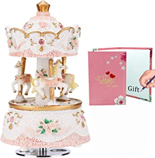 LOVE FOR YOU Music Box for Carousel,3-Horse Merchandise Classic Clockworek Musical Box Best Birthday Gift for Kids,Girls,Friends,Melody Castle in The Sky(Pink-White)