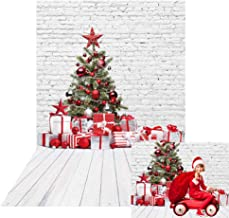 Allenjoy Christmas White Brick Wall Wood Floor Backdrop Photography Xmas Tree Gifts Vintage New Year Wall Decor Winter Background 5x7ft Kids Newborn Baby Shower Portrait Photo Booth Photoshoot Props