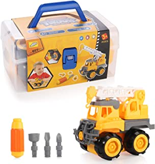 MINGPINHUIUS Multi-Model Disassembly Dump Truck, Excavator, Digger, Clamp Car, Ladder Truck & Crane- BPA Free, Truck Play Toys Gift for 3-12 Years Toddlers Kids Boys (Ladder Crane, Toolbox)