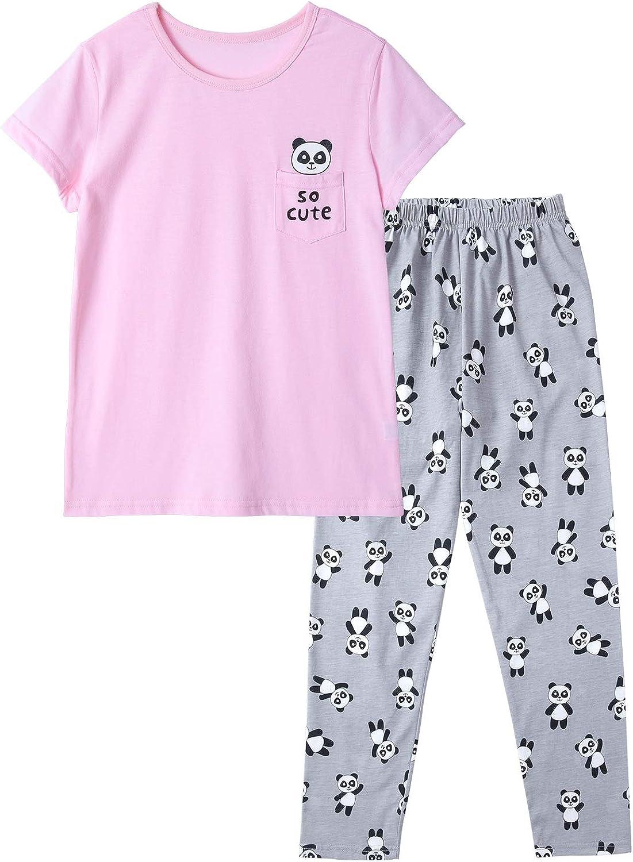 Panda Pajamas for Girls Size 2T-16 Toddler Little Kids Short Sleeve & Pants Clothes Set PJ Pal Sleepwear