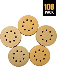 5 Inch Sanding Disc 100PCS Sanding Discs 60/80/120/150/220 5 Inch Sanding Discs Hook and Loop 8 Holes 5-Inch Sanding Discs Gold Sanding disc