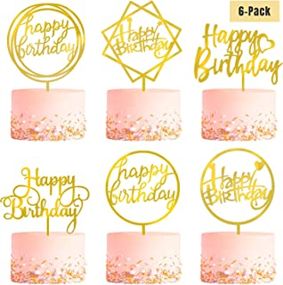 6 Pack Gold Birthday Cake Topper Set, Double-Sided Glitter, Acrylic Happy Birthday Cake Toppers Cupcake Toppers, Birthday ...