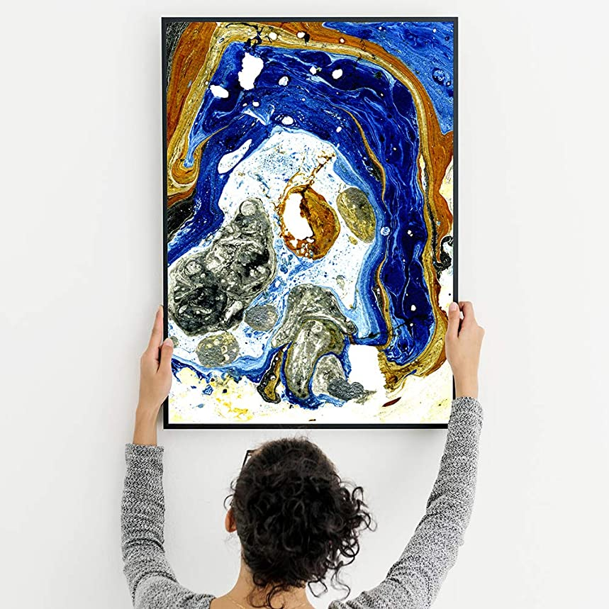 Diamond Painting Kits for Adults – 5D DIY Diamond Dotz Kits with Full Drill – Great Decor for Home, Office, Living Room, Bedroom, Kitchen (Modern Painting Blue Gold 13x16 Inch)