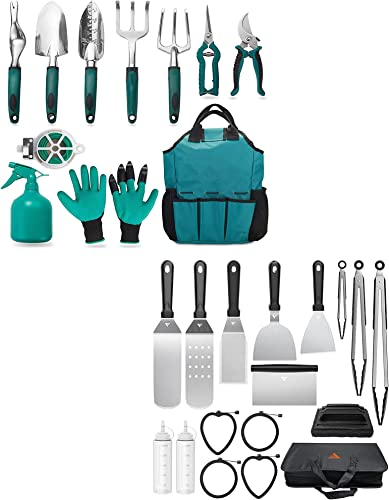 new arrival FiveJoy Garden Tool Set, 11 Piece+Griddle Accessories Kit for Camp Chef BBQ Tools, 17 outlet online sale discount PCS sale
