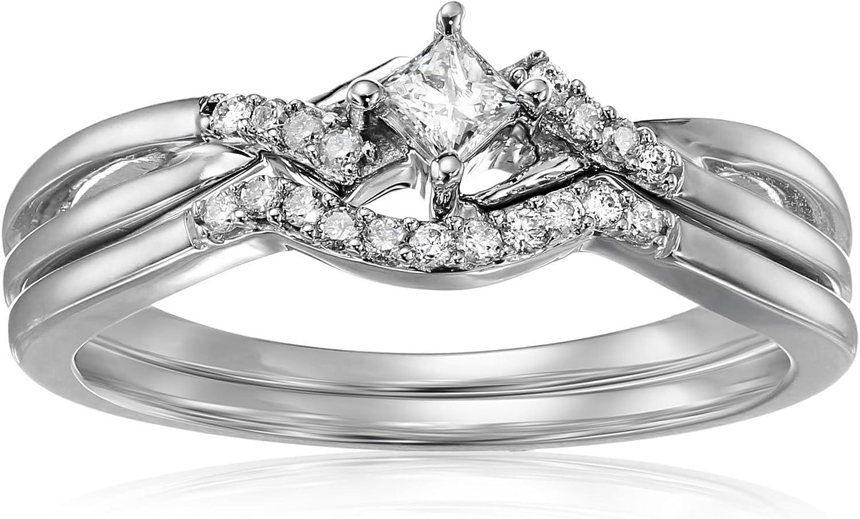10k White Gold Princess-Cut And Round Diamond Bridal Wedding Ring Set (1/5cttw, H-I Color, I1-I2 Clarity)