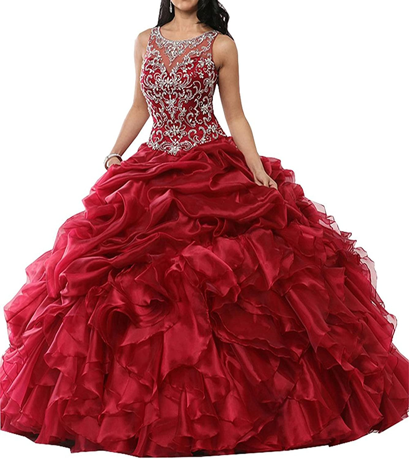 Lavaring Women's Scoop Organza Hollow Beading Ruffle Laceup Quinceanera Dress