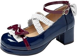 FOLOPOBO Femmes Mode Hauts Talons Bloc Escarpins Bride Cheville Lolita Chaussures Cute Cosplay Chaussures
