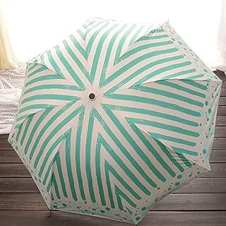 Color Stripe Umbrella Folding Umbrella Vinyl Ultra-Violet Protection Sunscreen Sun Umbrella Huhero (Color : Green)