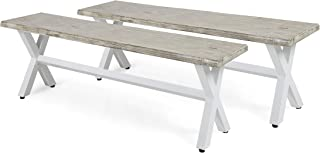 Great Deal Furniture Irma Outdoor Acacia Wood Dining Bench with Iron Legs, Light Gray Wash and White Rustic Metal