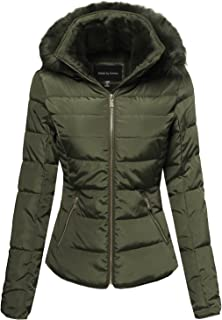 Women's Junior Fit Quilted Puffer Jacket with Detachable Faux Fur Hood
