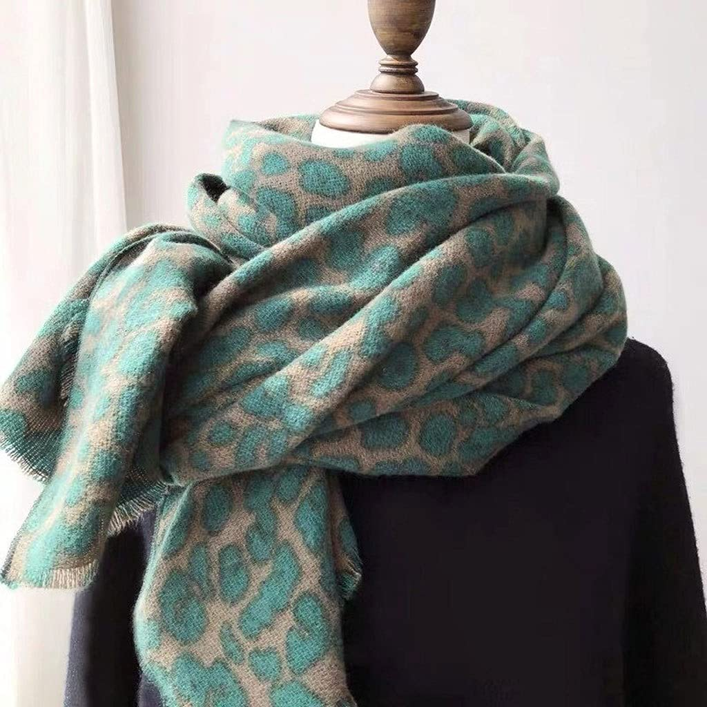 PDGJG Warmer Winter Fashion Scarf Gift for Women Ladies Knitting Cashmere Pashmina Scarf