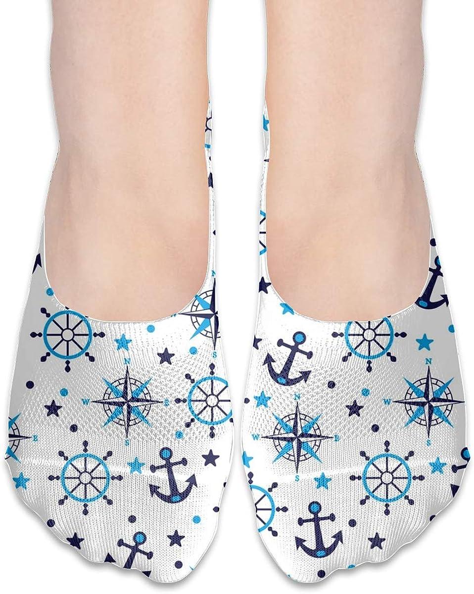 No Show Socks Women Men For Blue Sea Navy Anchor Flats Cotton Ultra Low Cut Liner Socks Non Slip