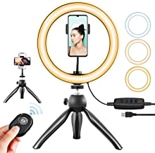 "LED Ring Light - 10"" Selfie Ring Light with Tripod Stand & Phone Holder, Dimmable Desk Makeup Ring Light, Perfect for Live Streaming, TikTok, Vlogging, YouTube Video, Photography(U2)"