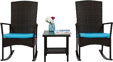 Peach Tree Rattan Rocker Chair Outdoor Garden Rocking Chair Wicker Lounge w/Turquoise Cushion and Tea Table