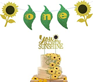E&L Sunflower Theme Birthday Decoration kit- One- Banner and You are My Sunshine Cake Topper - for 1st Outfit Girl Baby Bo...