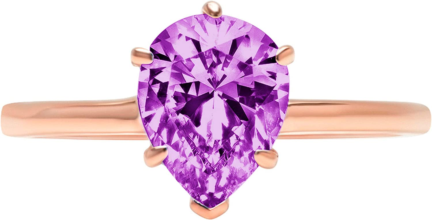 2.50 ct Brilliant Pear Cut Solitaire Flawless Simulated CZ Purple Alexandrite Ideal VVS1 6-Prong Engagement Wedding Bridal Promise Anniversary Designer Ring Solid 14k Rose Gold for Women