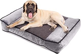 Pecute Large Dog Bed, Warm Plush & Cool Silk Double-Sided Pet Bed Four Seasons Available, Orthopedic Shredded Memory Foam Dog Beds, Washable Dog Lounge with Removable Cover (40X27X8 in)