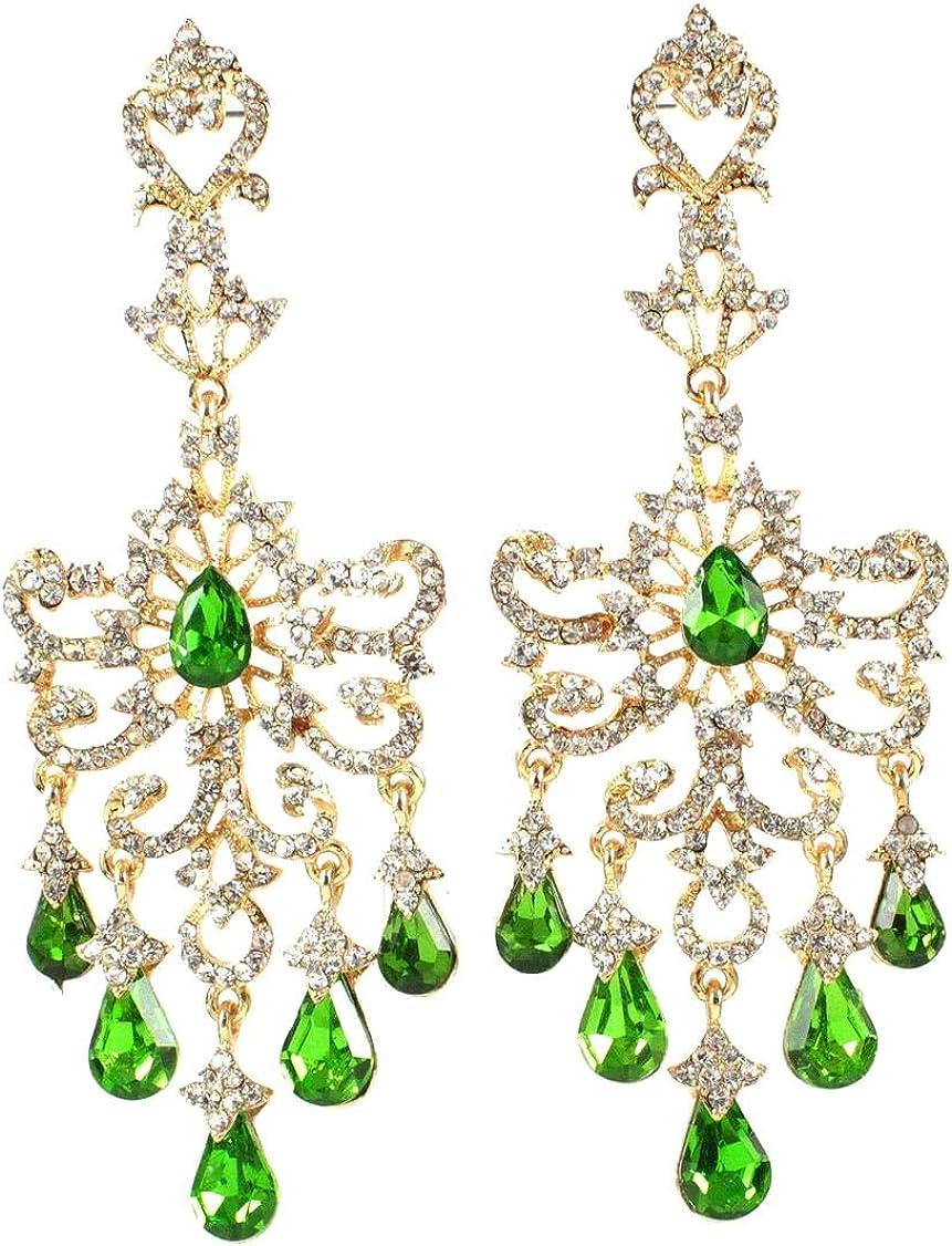 Janefashions Huge Victorian Austrian Crystal Rhinestone Drop Chandelier Dangle Earrings E2097 Green or White