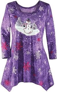 Womens Sweater,Kulywon Women's Winter Festive Waterfall Christmas Irregular Hem Blouse Top