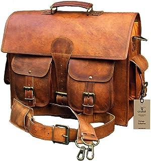 Crafat 15 Inch Vintage Handmade Leather Messenger Bag Laptop Briefcase Computer Satchel bag For Men (DARK BROWN)