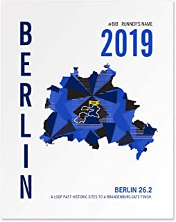 Run Ink Personalized Berlin Marathoner Map Print Poster