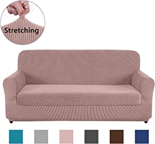 AUJOY Sofa Cover Stretch 2-Piece Couch Slipcover Jacquard Non-Slip Furniture Protector Machine Washable Couch Slip Covers for Living Room (Sofa, Sand)