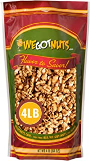 California Raw Walnuts- 4 Pounds, Resealable Package-Fresh, No Shell, Unsalted-All Natural Dry Halves and Chopped Pieces-F...